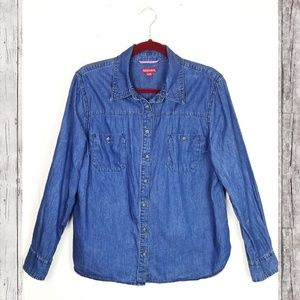 MERONA Dark Wash Denim Button Down Shirt